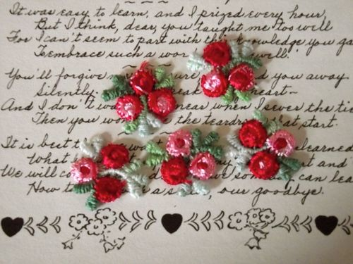 Red pink rose appliques large