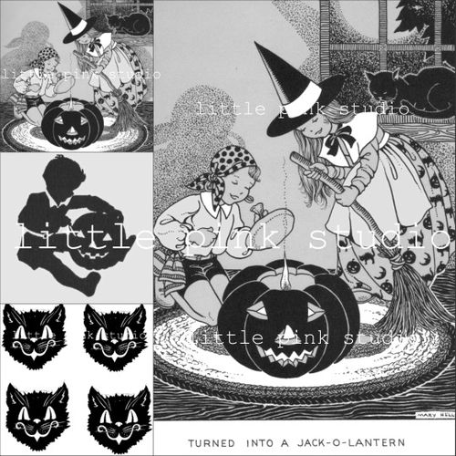 Black and white halloween collage large
