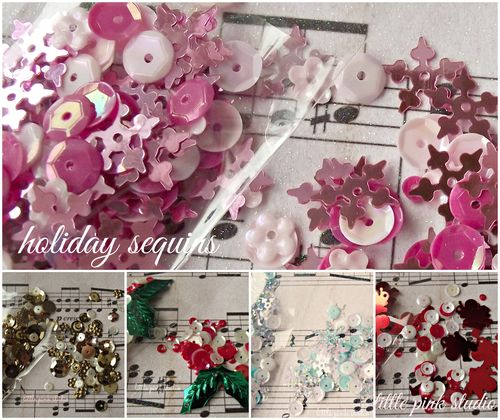 Holiday sequins collage
