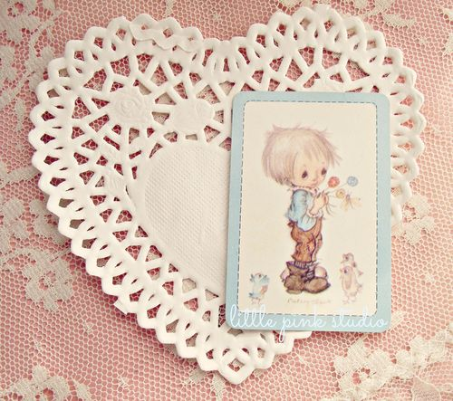 Vintage boy with flowers card