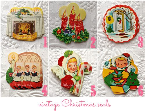Vintage christmas seal collage